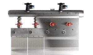Grindaix-Düse für eine optimale Kühlschmierstoff-Versorgung beim Fertigungsverfahren Spitzenlosschleifen.