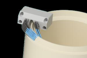 Grindaix-Düse für eine optimale Kühlschmierstoff-Versorgung beim Fertigungsverfahren Tellerrad-/Kegelradschleifen.