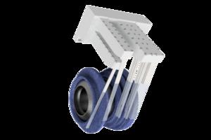 Grindaix-Düse für eine optimale Kühlschmierstoff-Versorgung beim Fertigungen von Turbinenbauteilen.