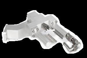 Grindaix-Düse für eine optimale Kühlschmierstoff-Versorgung beim Fertigungsverfahren Werkzeugschleifen.